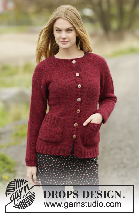 Winter Wine Cardigan by DROPS Design